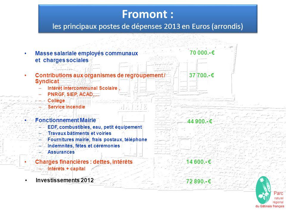 Fromont : les principaux postes de dépenses 2013 en Euros (arrondis) Masse salariale employés communaux et charges sociales 70 000.- Investissements 2