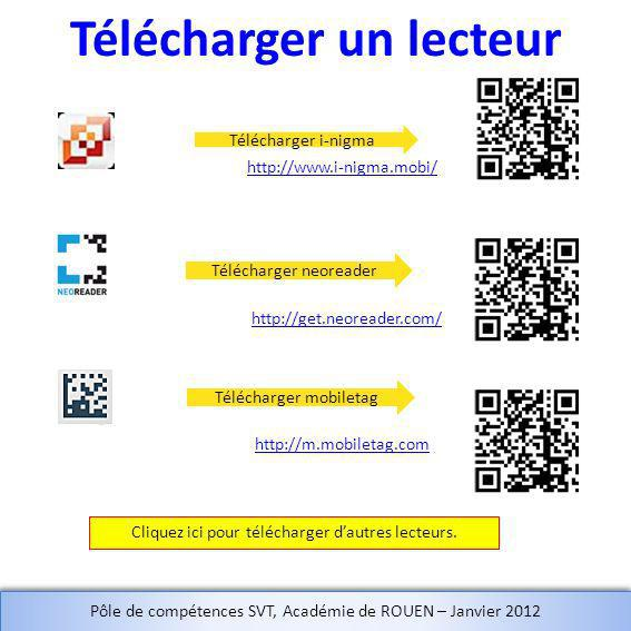 Télécharger un lecteur Télécharger i-nigma Télécharger neoreader Télécharger mobiletag Cliquez ici pour télécharger dautres lecteurs. http://get.neore