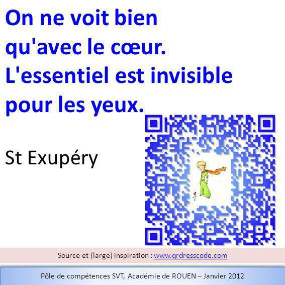 On ne voit bien qu'avec le cœur. L'essentiel est invisible pour les yeux. St Exupéry Source et (large) inspiration : www.qrdresscode.comwww.qrdresscod