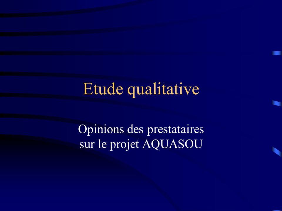 Etude qualitative Opinions des prestataires sur le projet AQUASOU
