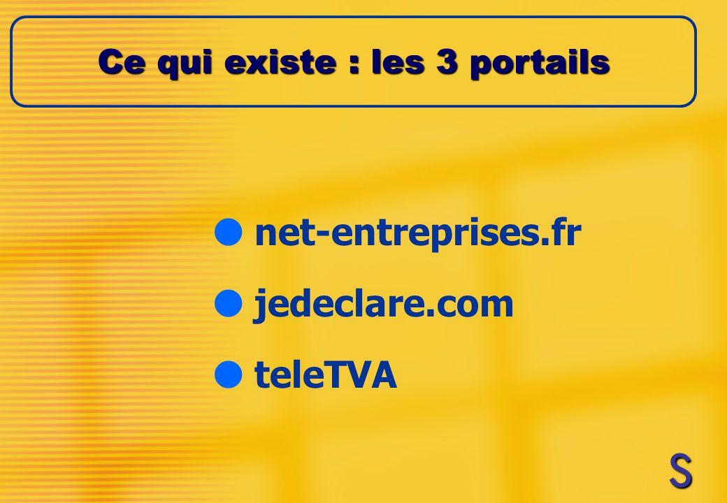 l net-entreprises.fr l jedeclare.com l teleTVA Ce qui existe : les 3 portails SSSS