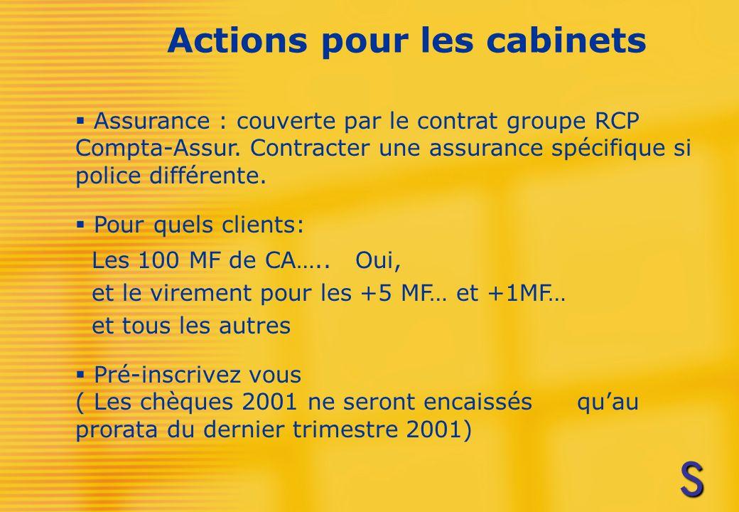 Actions pour les cabinets Assurance : couverte par le contrat groupe RCP Compta-Assur.