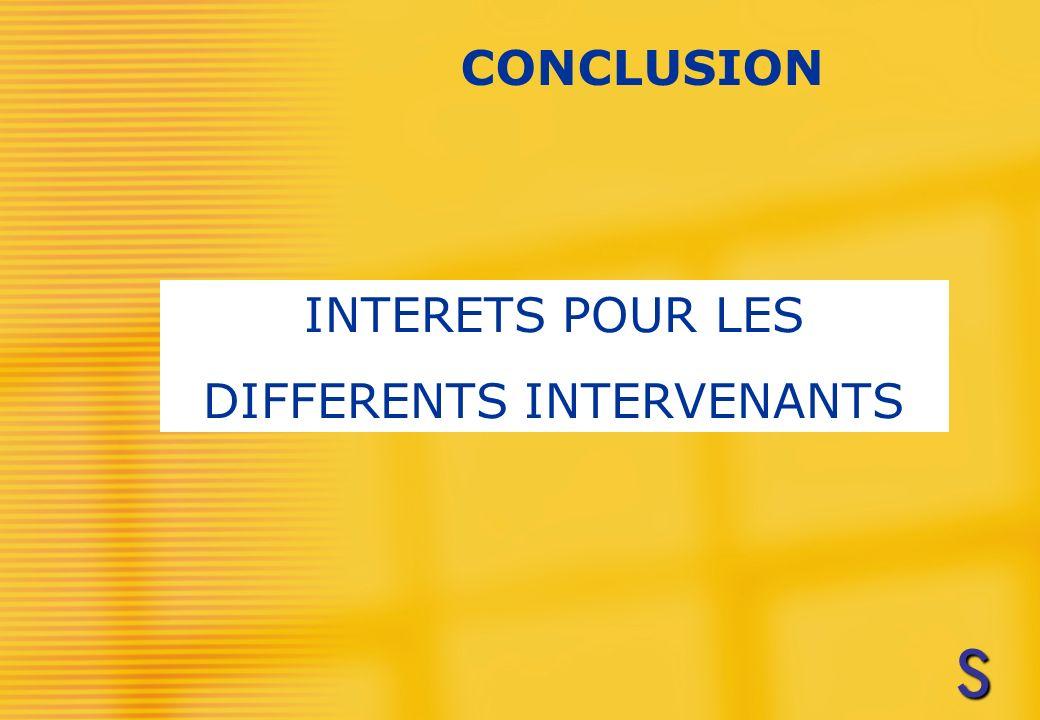 INTERETS POUR LES DIFFERENTS INTERVENANTS CONCLUSION SSSS