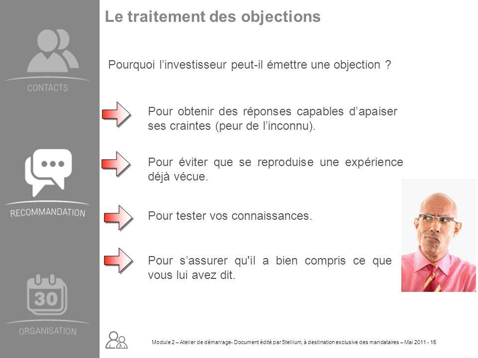 Module 2. GROUPE OMNIUM FINANCE DIAPORAMA-Cursus Initial-Atelier de démarrage_Mai 2008 15 Le traitement des objections Pourquoi linvestisseur peut-il