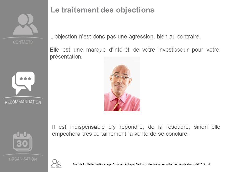Module 2. GROUPE OMNIUM FINANCE DIAPORAMA-Cursus Initial-Atelier de démarrage_Mai 2008 16 Le traitement des objections L'objection n'est donc pas une