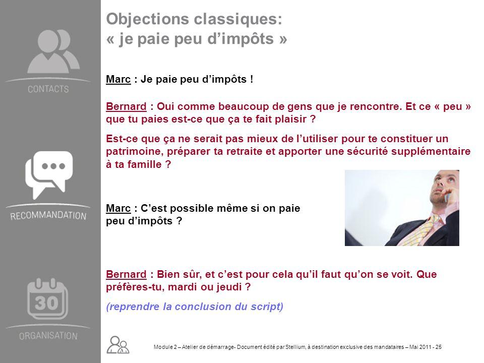 Module 2. GROUPE OMNIUM FINANCE DIAPORAMA-Cursus Initial-Atelier de démarrage_Mai 2008 25 Objections classiques: « je paie peu dimpôts » Bernard : Bie