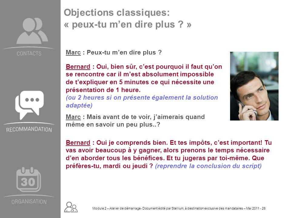 Module 2. GROUPE OMNIUM FINANCE DIAPORAMA-Cursus Initial-Atelier de démarrage_Mai 2008 26 Objections classiques: « peux-tu men dire plus ? » Marc : Pe