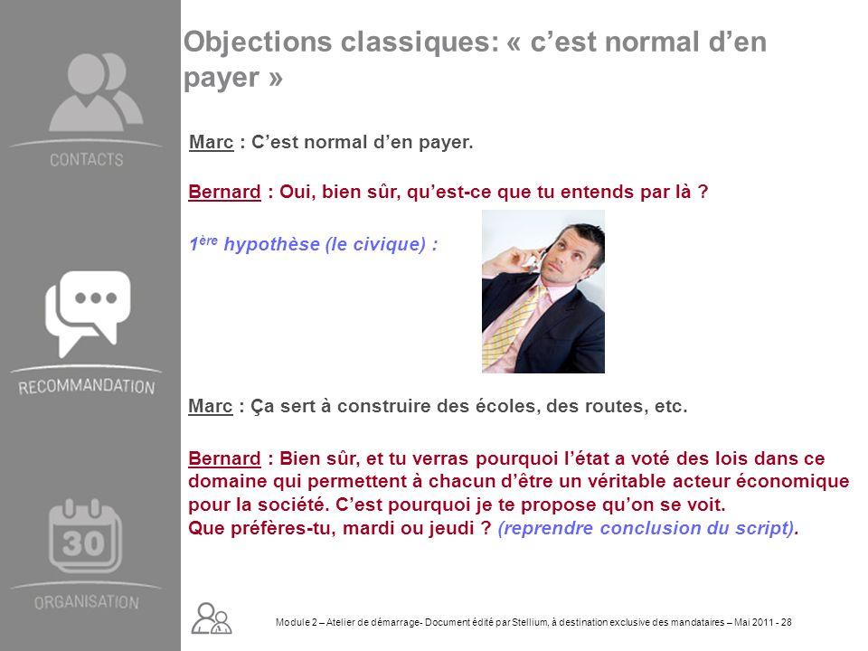 Module 2. GROUPE OMNIUM FINANCE DIAPORAMA-Cursus Initial-Atelier de démarrage_Mai 2008 28 Objections classiques: « cest normal den payer » Marc : Ça s