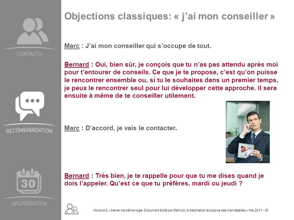 Module 2. GROUPE OMNIUM FINANCE DIAPORAMA-Cursus Initial-Atelier de démarrage_Mai 2008 30 Objections classiques: « jai mon conseiller » Marc : Jai mon
