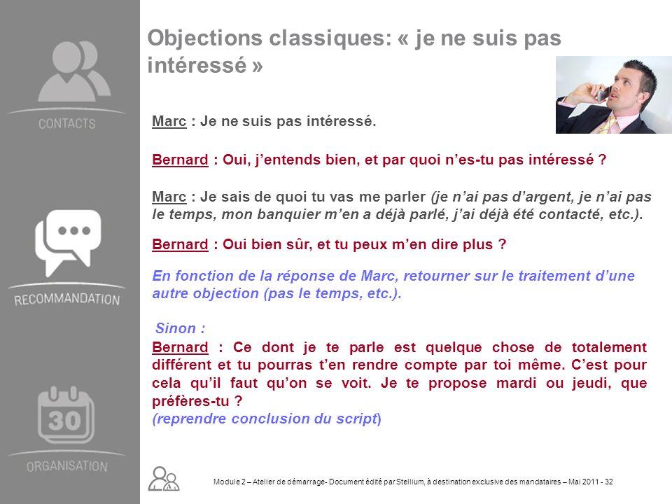 Module 2. GROUPE OMNIUM FINANCE DIAPORAMA-Cursus Initial-Atelier de démarrage_Mai 2008 32 Objections classiques: « je ne suis pas intéressé » Marc : J