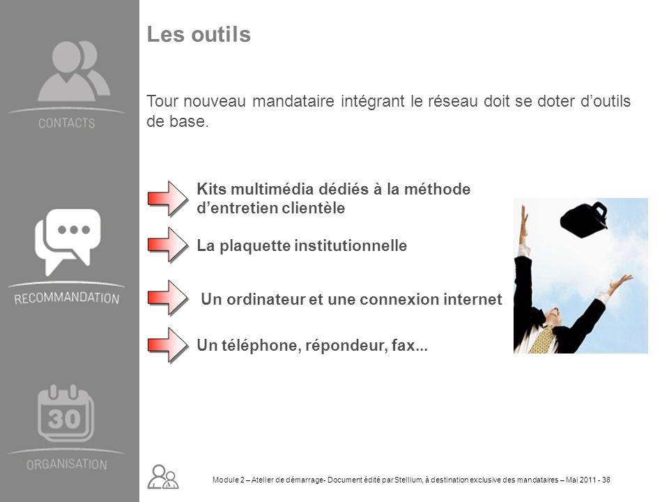 Module 2. GROUPE OMNIUM FINANCE DIAPORAMA-Cursus Initial-Atelier de démarrage_Mai 2008 38 Les outils Kits multimédia dédiés à la méthode dentretien cl