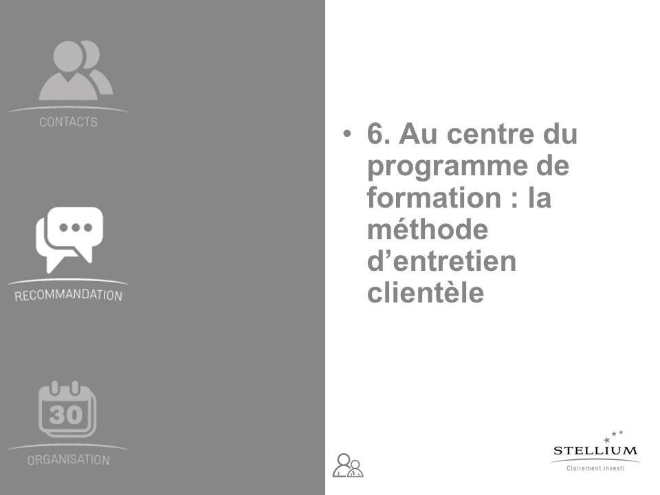 6. Au centre du programme de formation : la méthode dentretien clientèle
