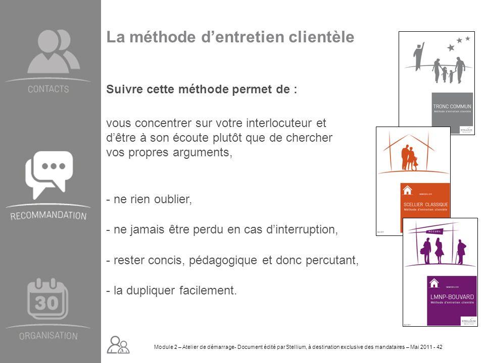 Module 2. GROUPE OMNIUM FINANCE DIAPORAMA-Cursus Initial-Atelier de démarrage_Mai 2008 42 La méthode dentretien clientèle Suivre cette méthode permet