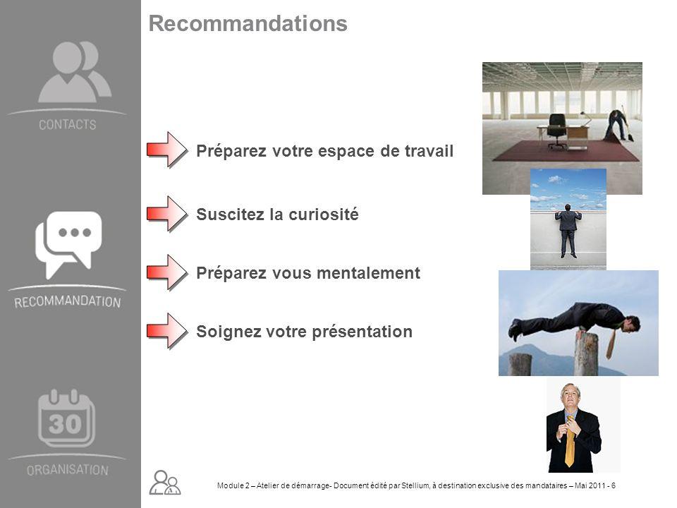 Module 2. GROUPE OMNIUM FINANCE DIAPORAMA-Cursus Initial-Atelier de démarrage_Mai 2008 6 Recommandations Préparez votre espace de travail Soignez votr