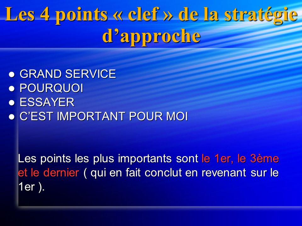 Les 4 points « clef » de la stratégie dapproche GRAND SERVICE GRAND SERVICE POURQUOI POURQUOI ESSAYER ESSAYER CEST IMPORTANT POUR MOI CEST IMPORTANT P