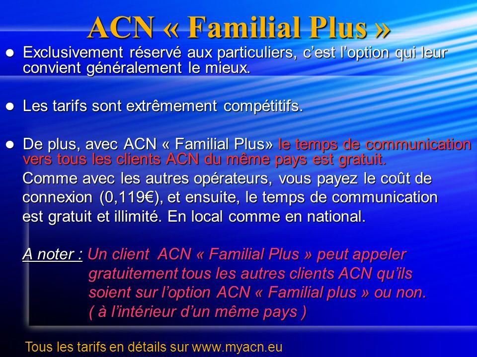 ACN « Familial Plus » Exclusivement réservé aux particuliers, cest loption qui leur convient généralement le mieux. Exclusivement réservé aux particul