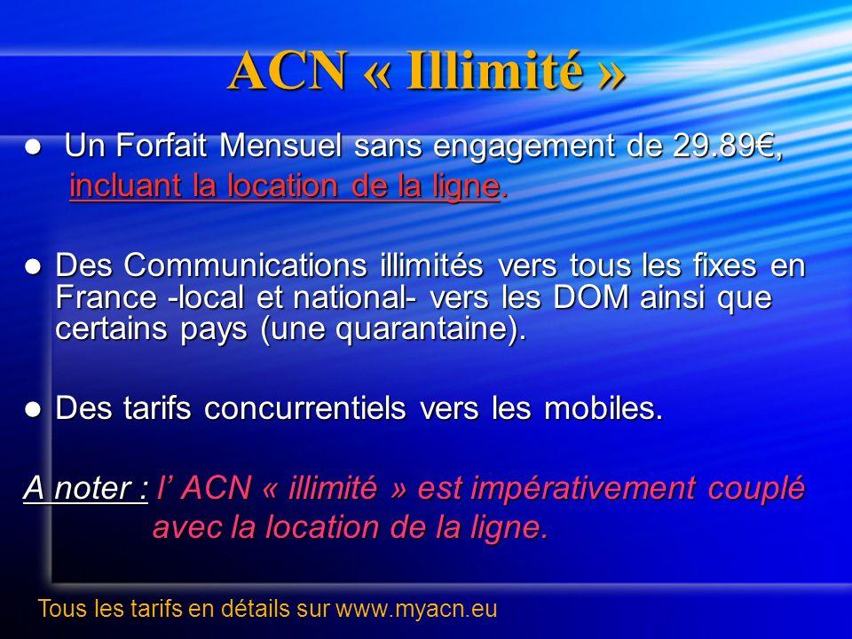 ACN « Illimité » Un Forfait Mensuel sans engagement de 29.89, Un Forfait Mensuel sans engagement de 29.89, incluant la location de la ligne. incluant