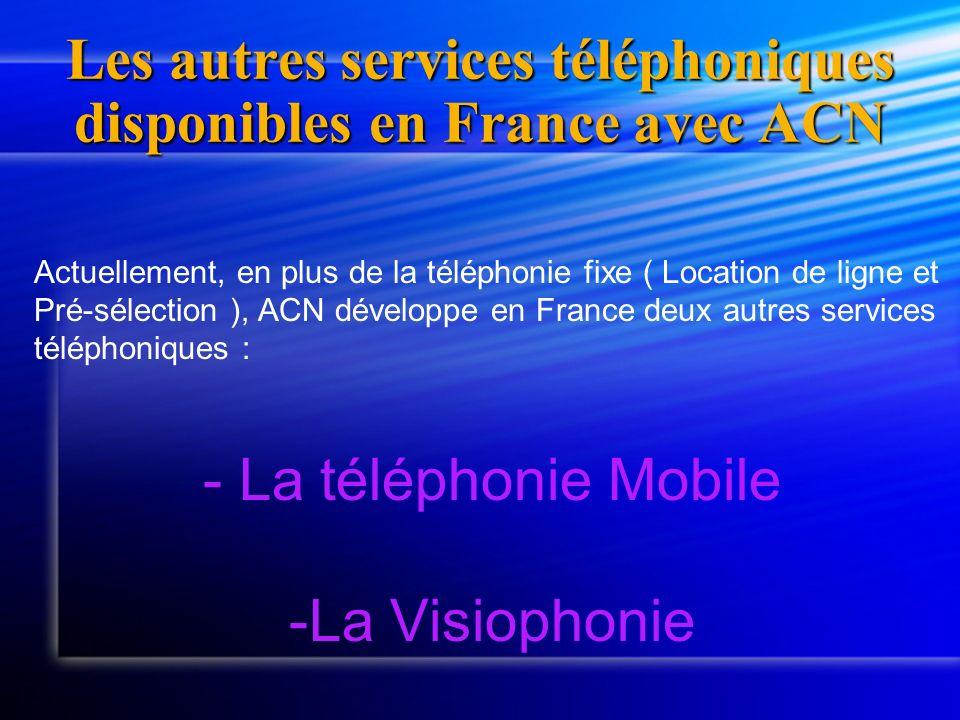 Les autres services téléphoniques disponibles en France avec ACN Actuellement, en plus de la téléphonie fixe ( Location de ligne et Pré-sélection ), A