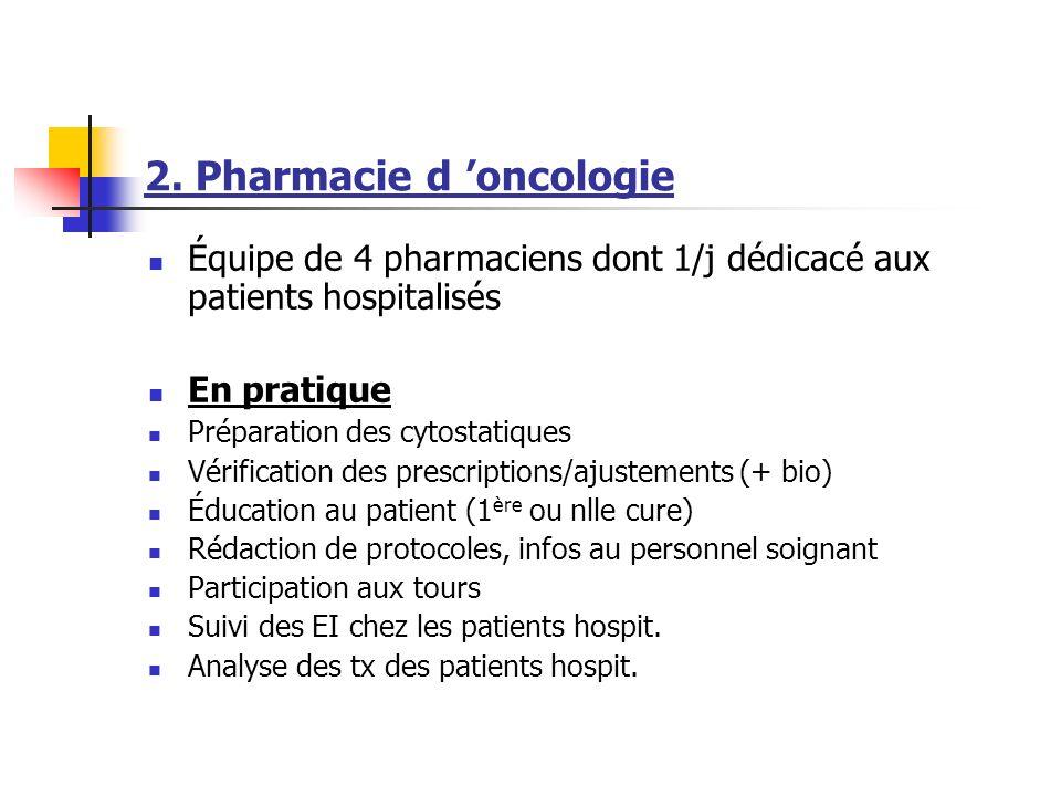 2. Pharmacie d oncologie Équipe de 4 pharmaciens dont 1/j dédicacé aux patients hospitalisés En pratique Préparation des cytostatiques Vérification de