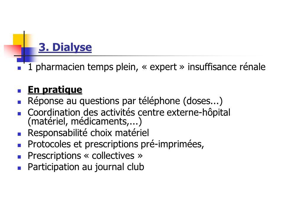 3. Dialyse 1 pharmacien temps plein, « expert » insuffisance rénale En pratique Réponse au questions par téléphone (doses...) Coordination des activit