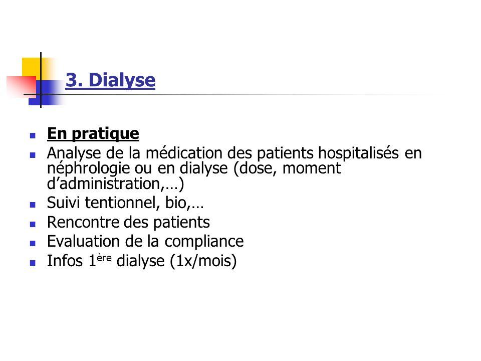 3. Dialyse En pratique Analyse de la médication des patients hospitalisés en néphrologie ou en dialyse (dose, moment dadministration,…) Suivi tentionn