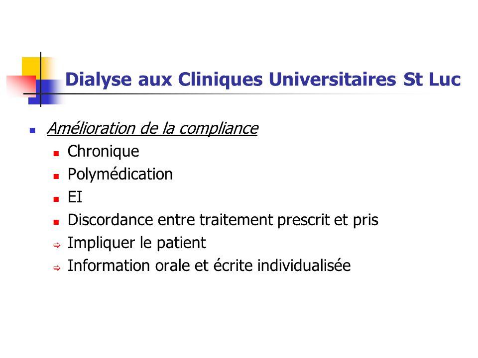 Dialyse aux Cliniques Universitaires St Luc Amélioration de la compliance Chronique Polymédication EI Discordance entre traitement prescrit et pris Im