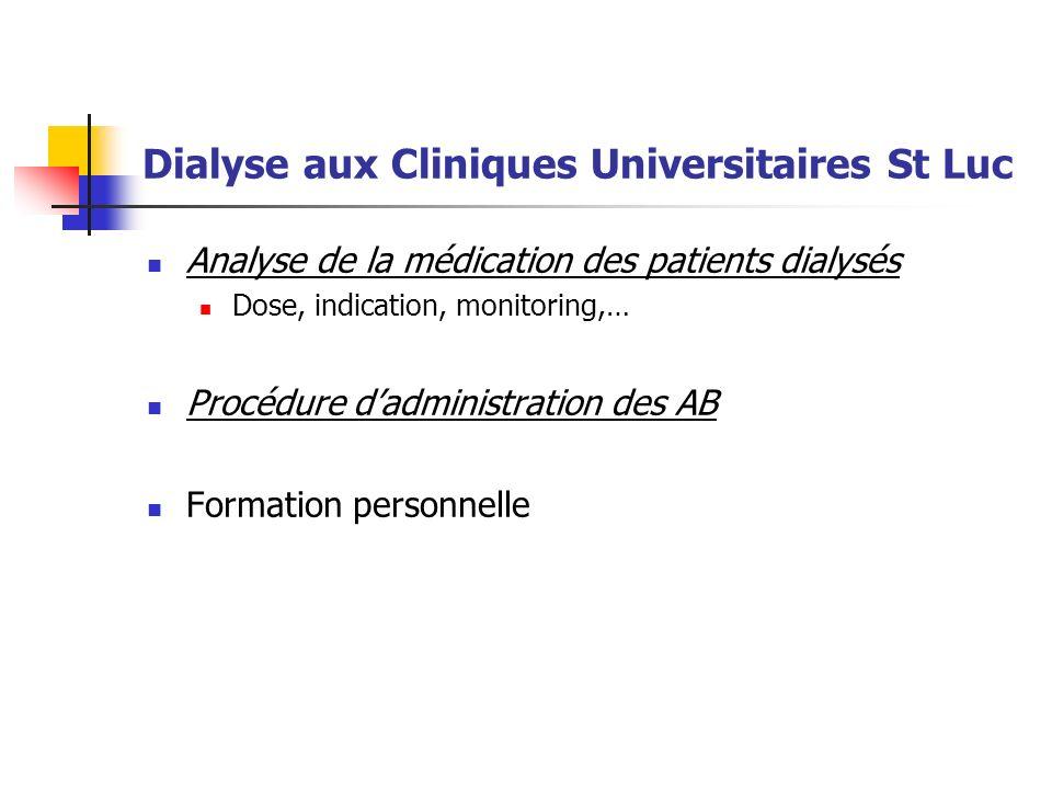 Analyse de la médication des patients dialysés Dose, indication, monitoring,… Procédure dadministration des AB Formation personnelle Dialyse aux Cliniques Universitaires St Luc