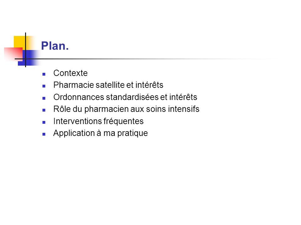 Plan. Contexte Pharmacie satellite et intérêts Ordonnances standardisées et intérêts Rôle du pharmacien aux soins intensifs Interventions fréquentes A