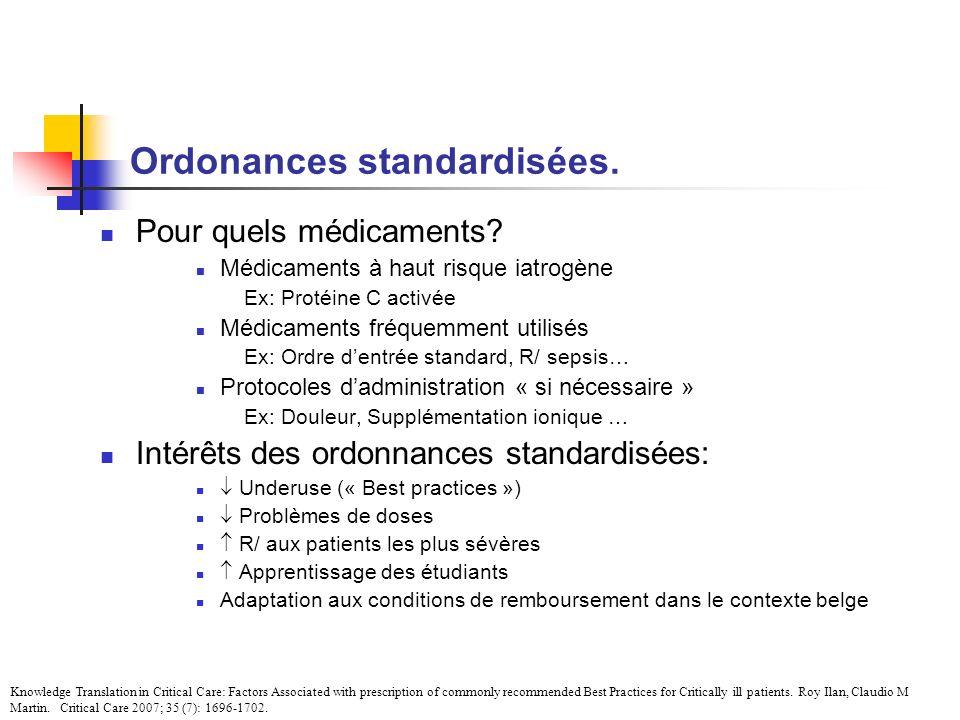 Ordonances standardisées. Pour quels médicaments? Médicaments à haut risque iatrogène Ex: Protéine C activée Médicaments fréquemment utilisés Ex: Ordr