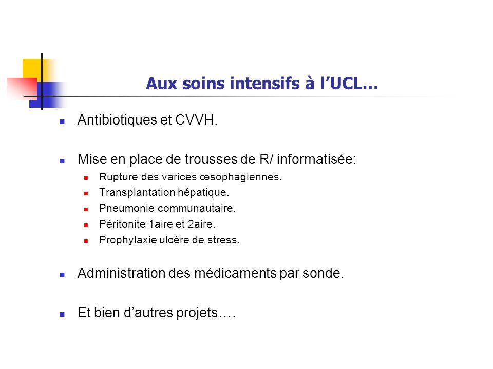 Aux soins intensifs à lUCL… Antibiotiques et CVVH. Mise en place de trousses de R/ informatisée: Rupture des varices œsophagiennes. Transplantation hé