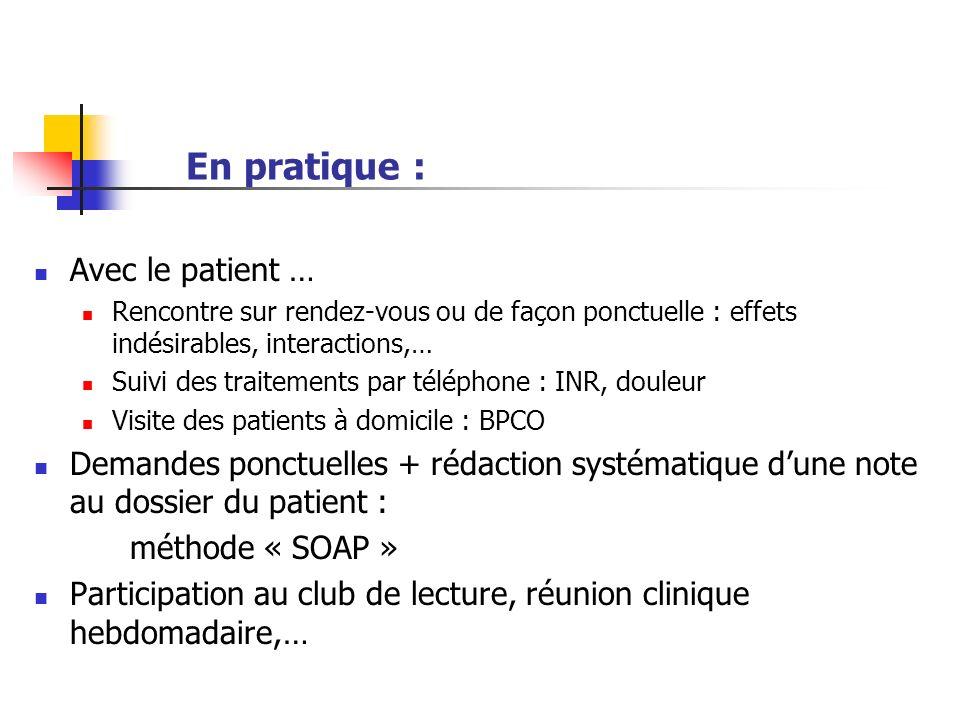 En pratique : Avec le patient … Rencontre sur rendez-vous ou de façon ponctuelle : effets indésirables, interactions,… Suivi des traitements par télép