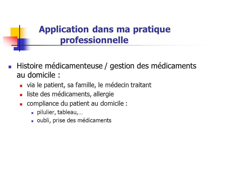 Application dans ma pratique professionnelle Histoire médicamenteuse / gestion des médicaments au domicile : via le patient, sa famille, le médecin tr