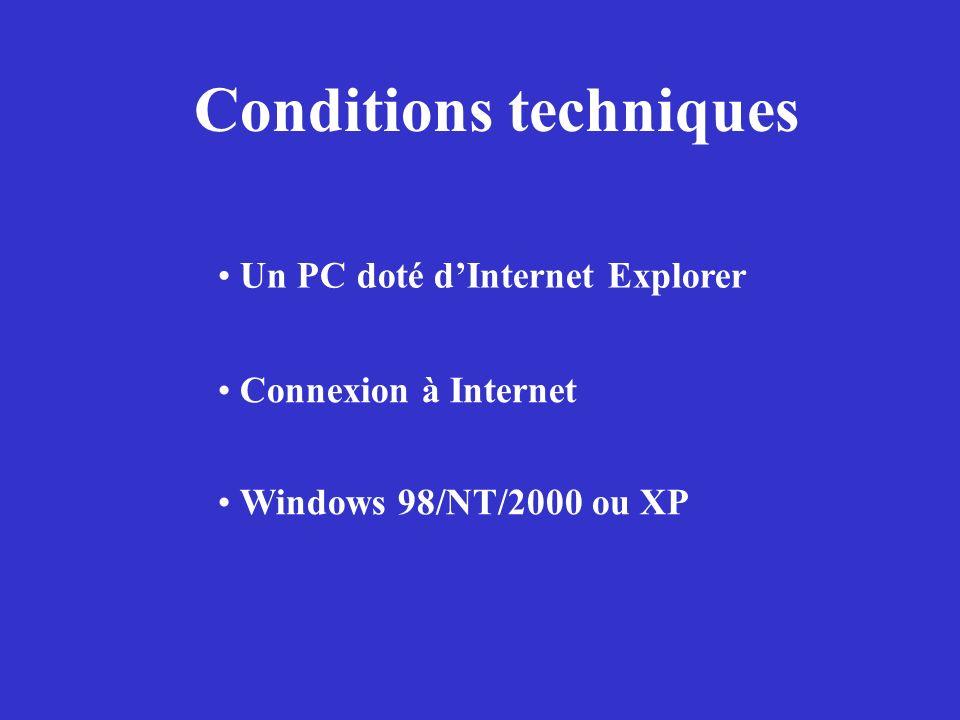 Conditions techniques Connexion à Internet Windows 98/NT/2000 ou XP Un PC doté dInternet Explorer