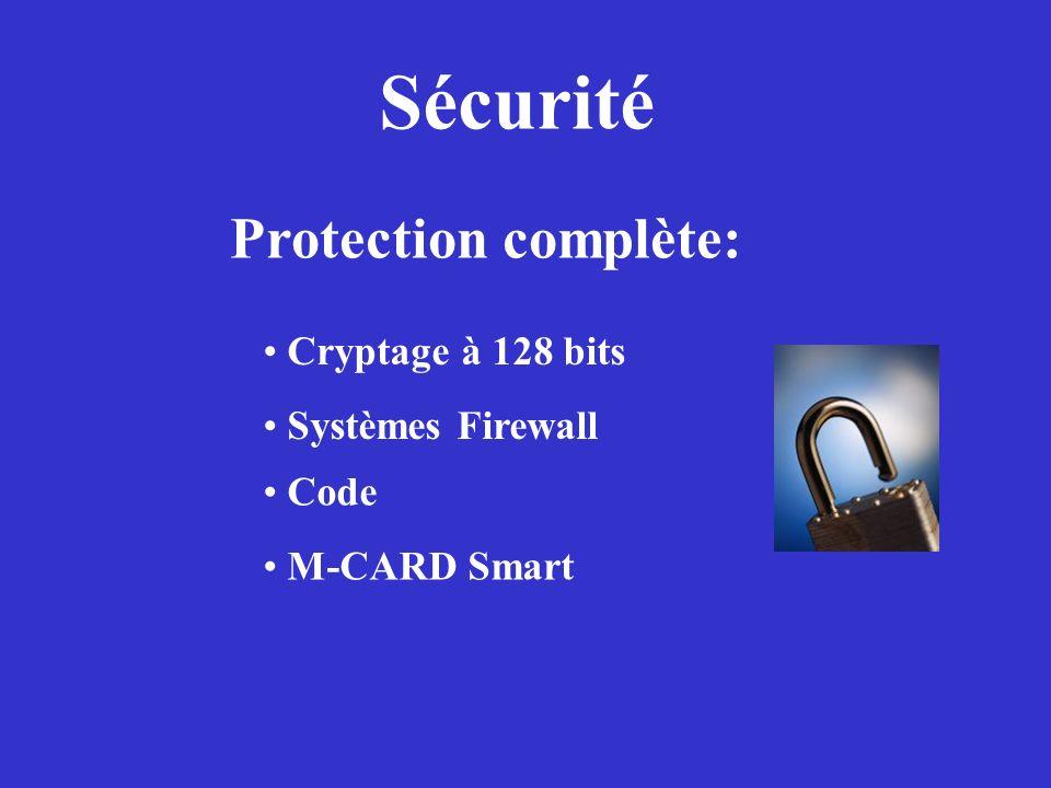 Sécurité Protection complète: Cryptage à 128 bits Systèmes Firewall Code M-CARD Smart