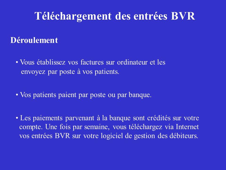 Téléchargement des entrées BVR Déroulement Vous établissez vos factures sur ordinateur et les Vos patients paient par poste ou par banque. Les paiemen
