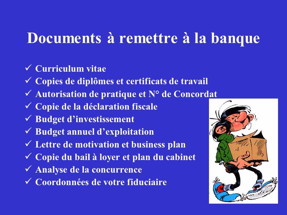 Documents à remettre à la banque Curriculum vitae Copies de diplômes et certificats de travail Autorisation de pratique et N° de Concordat Copie de la
