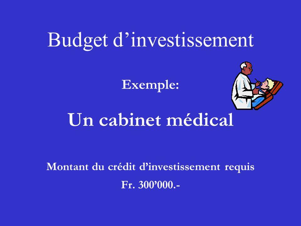 Budget dinvestissement Exemple: Un cabinet médical Montant du crédit dinvestissement requis Fr. 300000.-