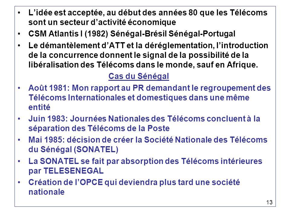 13 Lidée est acceptée, au début des années 80 que les Télécoms sont un secteur dactivité économique CSM Atlantis I (1982) Sénégal-Brésil Sénégal-Portu