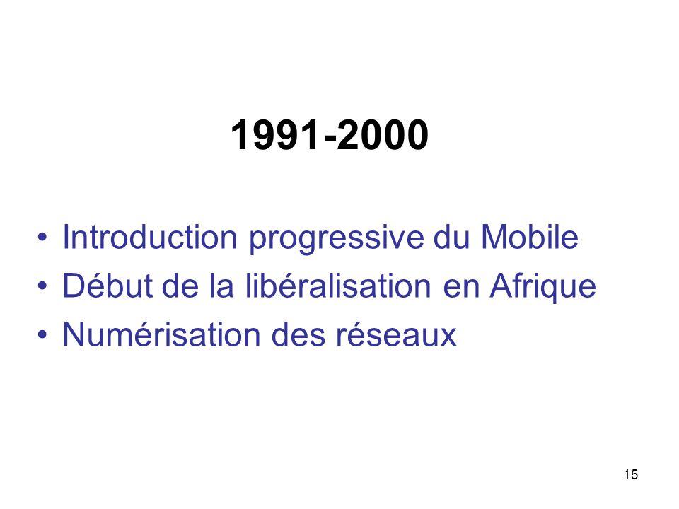 15 1991-2000 Introduction progressive du Mobile Début de la libéralisation en Afrique Numérisation des réseaux