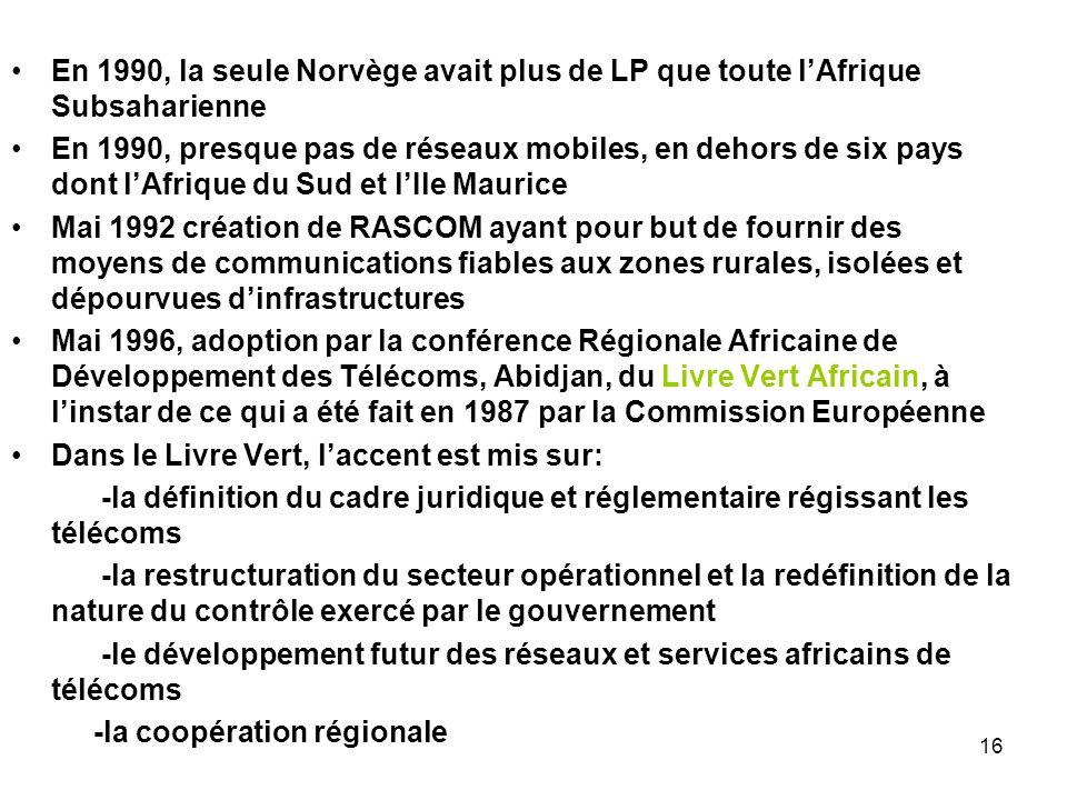 16 En 1990, la seule Norvège avait plus de LP que toute lAfrique Subsaharienne En 1990, presque pas de réseaux mobiles, en dehors de six pays dont lAf