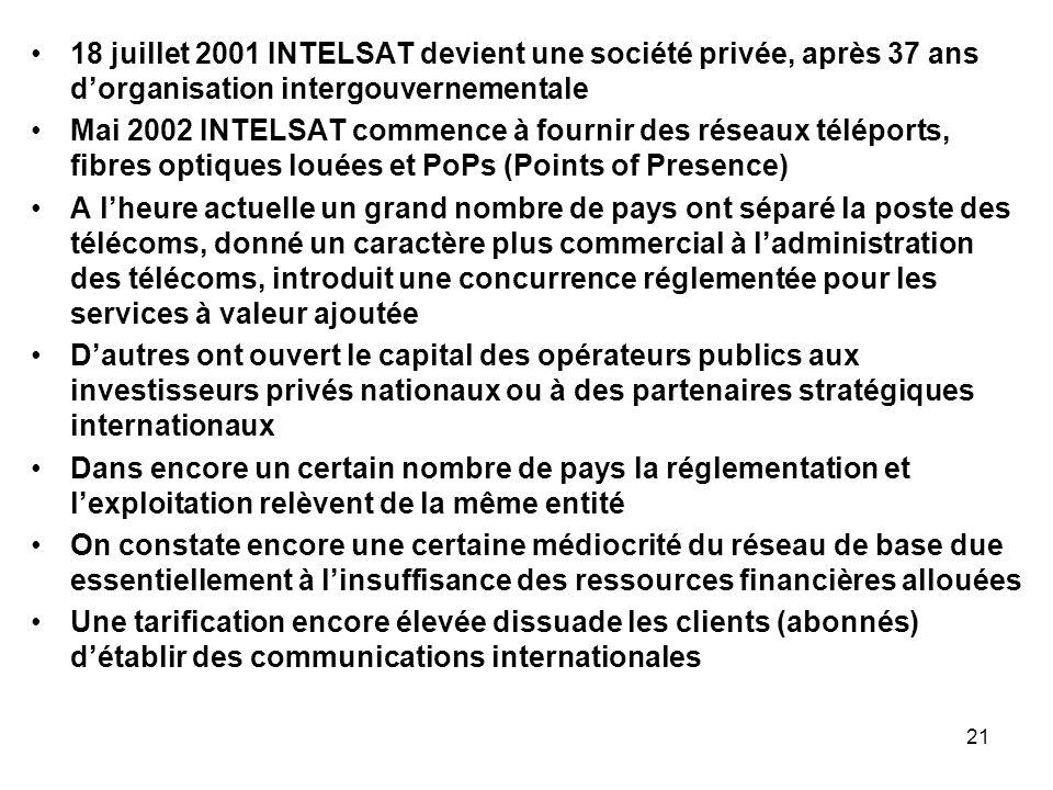 21 18 juillet 2001 INTELSAT devient une société privée, après 37 ans dorganisation intergouvernementale Mai 2002 INTELSAT commence à fournir des résea