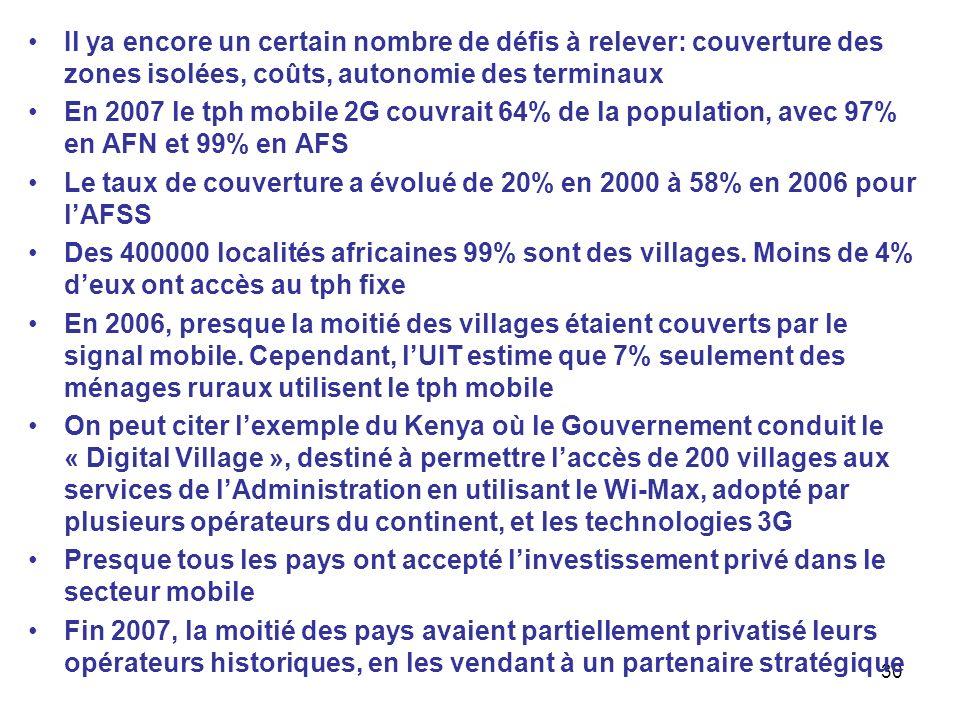 30 Il ya encore un certain nombre de défis à relever: couverture des zones isolées, coûts, autonomie des terminaux En 2007 le tph mobile 2G couvrait 6