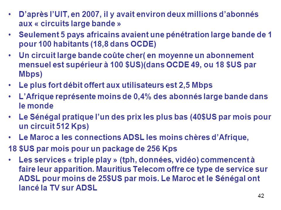 42 Daprès lUIT, en 2007, il y avait environ deux millions dabonnés aux « circuits large bande » Seulement 5 pays africains avaient une pénétration lar