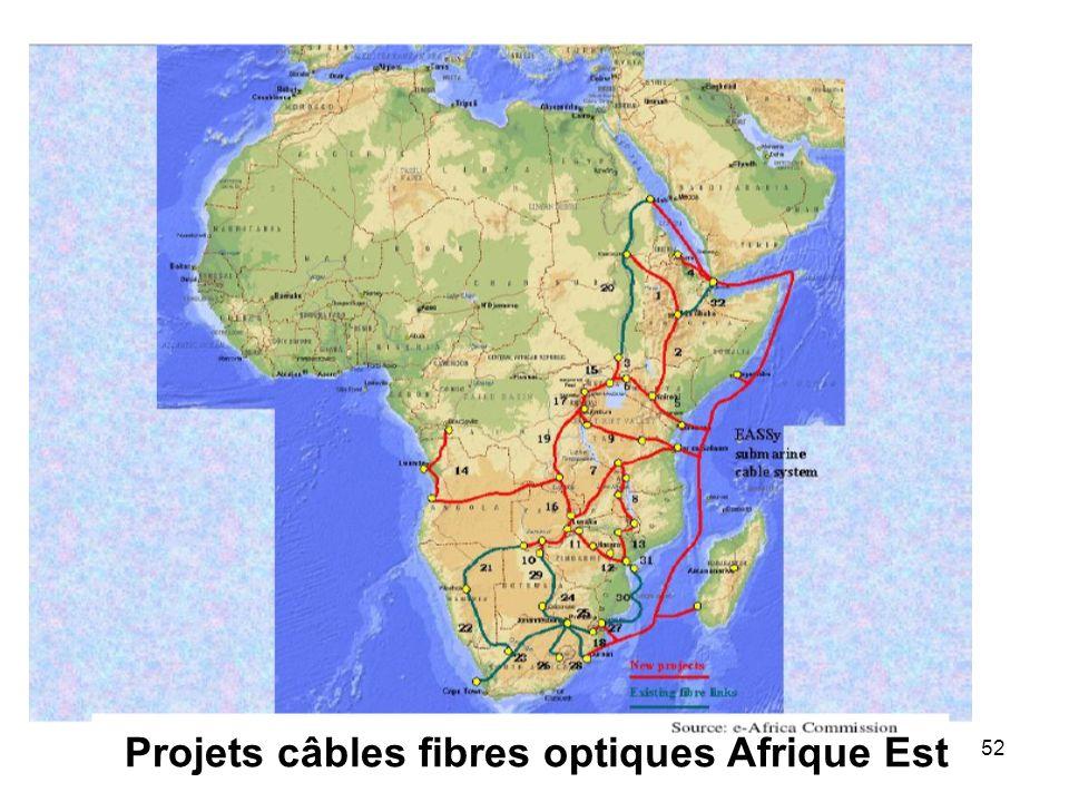 52 Projets câbles fibres optiques Afrique Est