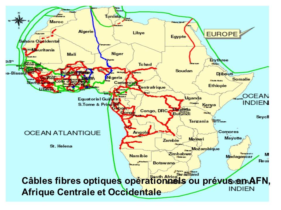53 Câbles fibres optiques opérationnels ou prévus en AFN, Afrique Centrale et Occidentale