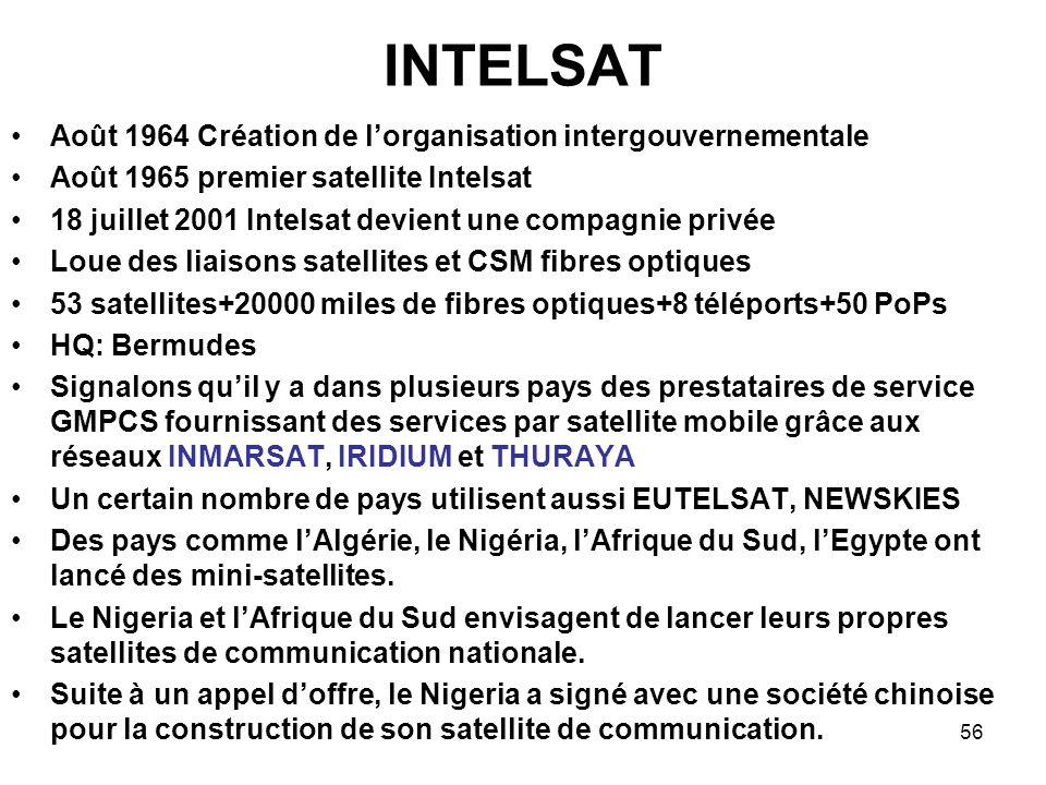56 INTELSAT Août 1964 Création de lorganisation intergouvernementale Août 1965 premier satellite Intelsat 18 juillet 2001 Intelsat devient une compagn