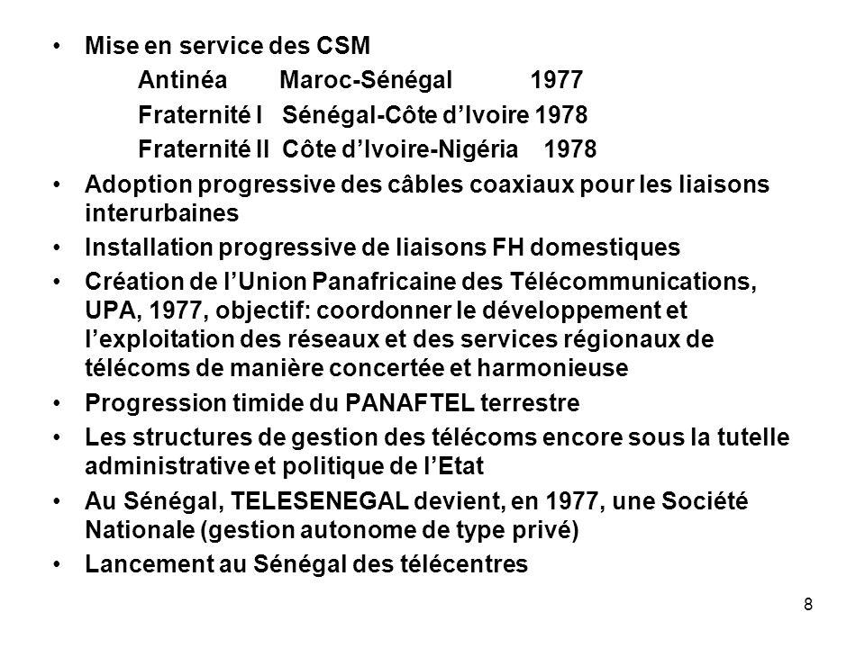 8 Mise en service des CSM Antinéa Maroc-Sénégal 1977 Fraternité I Sénégal-Côte dIvoire 1978 Fraternité II Côte dIvoire-Nigéria 1978 Adoption progressi