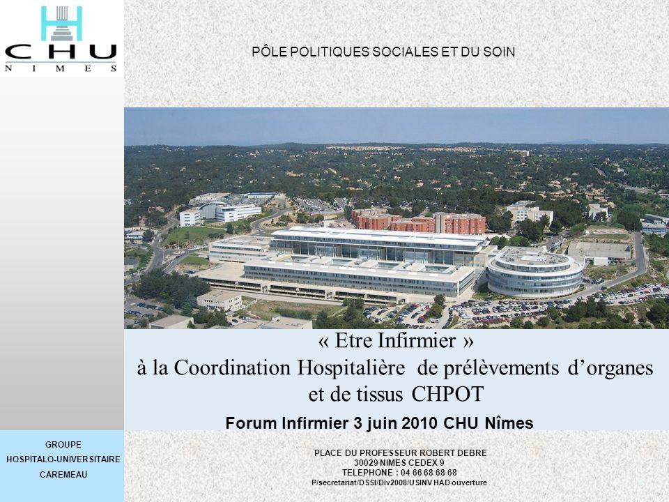 GROUPE HOSPITALO-UNIVERSITAIRE CAREMEAU 1 « Etre Infirmier » à la Coordination Hospitalière de prélèvements dorganes et de tissus CHPOT PLACE DU PROFE