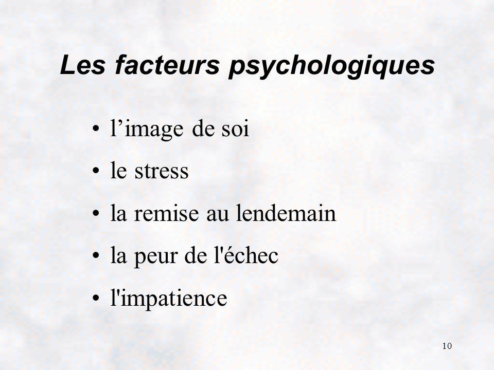 10 Les facteurs psychologiques limage de soi le stress la remise au lendemain la peur de l'échec l'impatience
