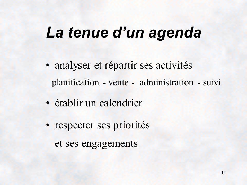 11 La tenue dun agenda analyser et répartir ses activités planification - vente - administration - suivi établir un calendrier respecter ses priorités et ses engagements